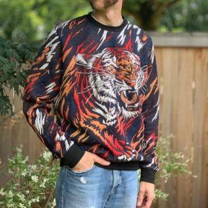 Zara Jacquard Tiger Sweatshirt Large Poly/Viscose